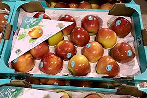 piezas de fruta, manzana